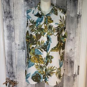 Van Heusen rayon palm leaf tropical blouse large